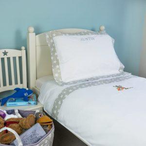 Kiddiewinkles Grey Star Children's Personalised Cotton Bedding Set