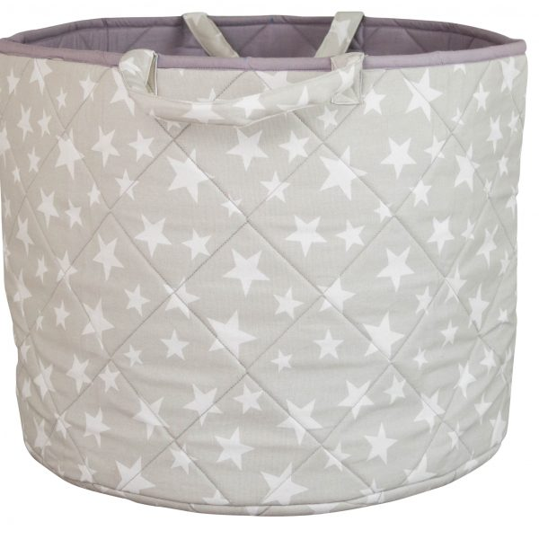 Kiddiewinkles Grey Star Large Children's Toy Storage Basket