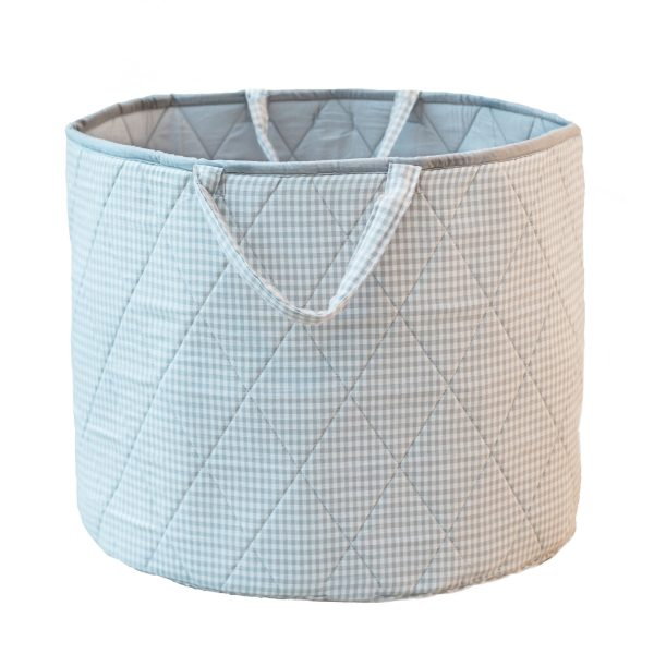 Kiddiewinkles Grey Gingham Large Children's Toy Storage Basket