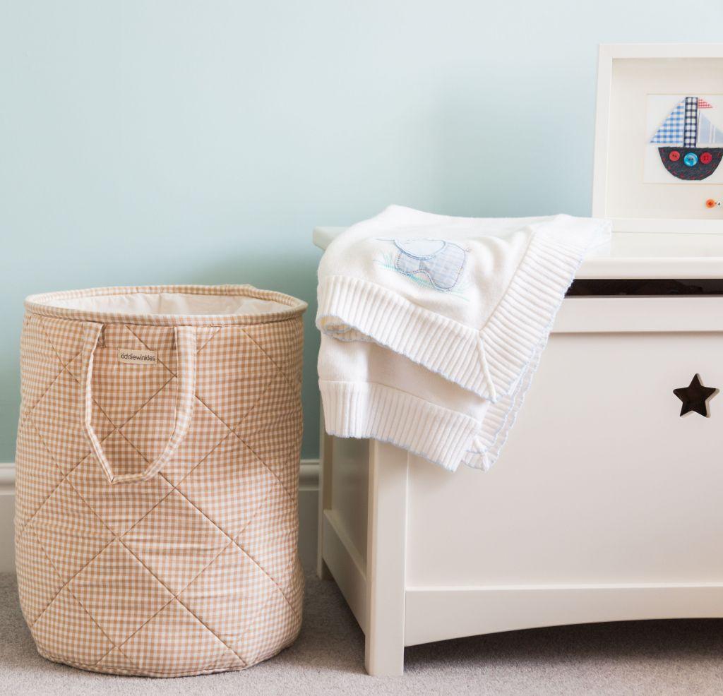 Children's Neutral Gingham Laundry Bag