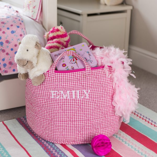 Pink Gingham Children's Toy Storage Basket