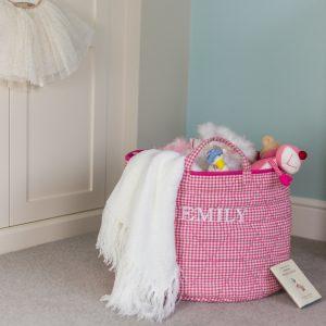 Pink Gingham Children's Toy Storage Basket