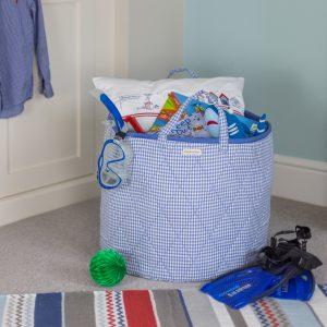 Kiddiewinkles Blue Gingham Children's Toy Storage Basket