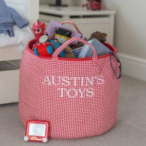 Kiddiewinkles Red Gingham Large Children's Toy Storage Basket