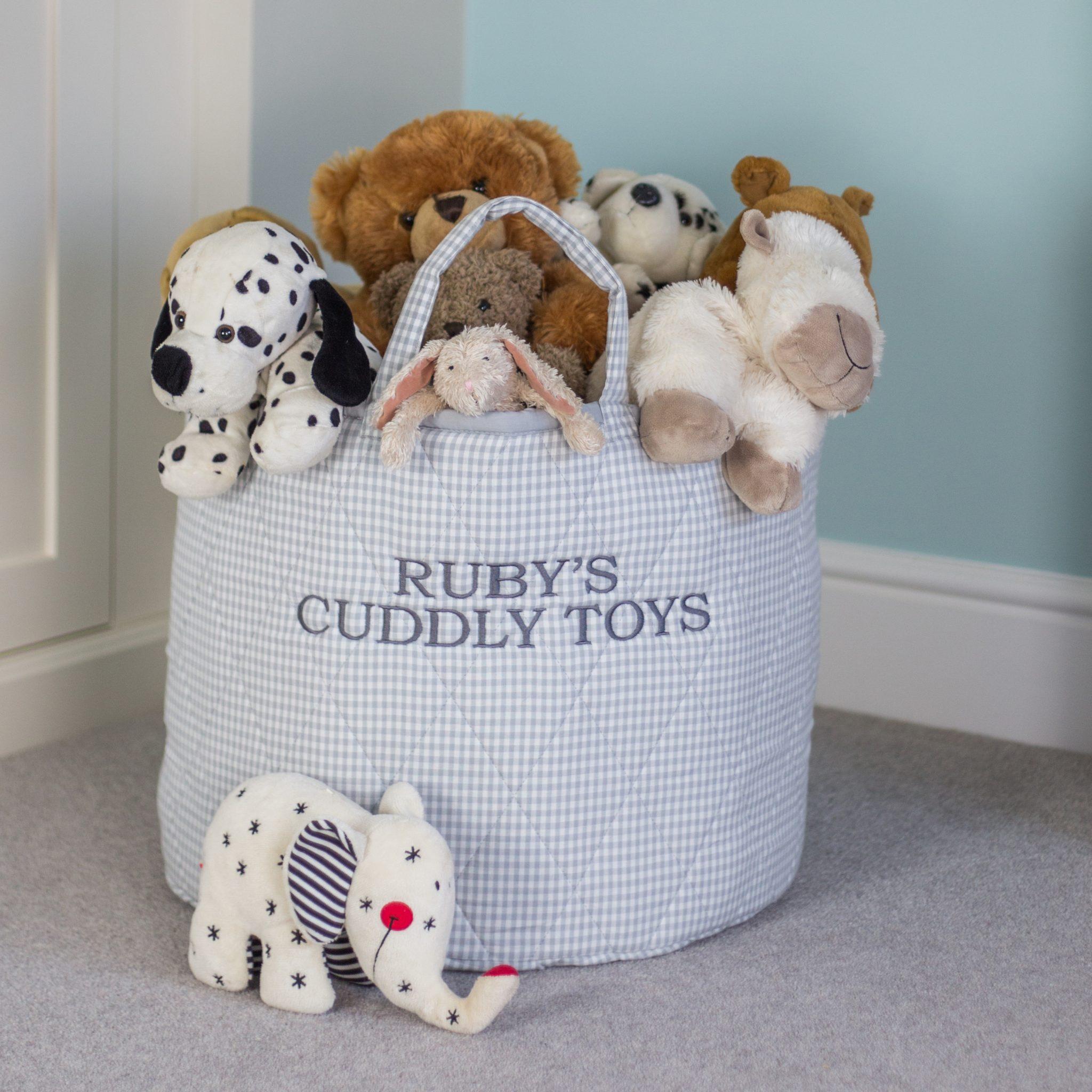 Kiddiewinkles Grey Gingham Large Children's Toy Storage Basket