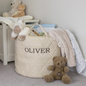Kiddiewinkles Neutral Gingham Children's Toy Storage Basket