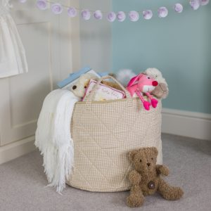 Kiddiewinkles Neutral Gingham Children's Toy Storage Basket