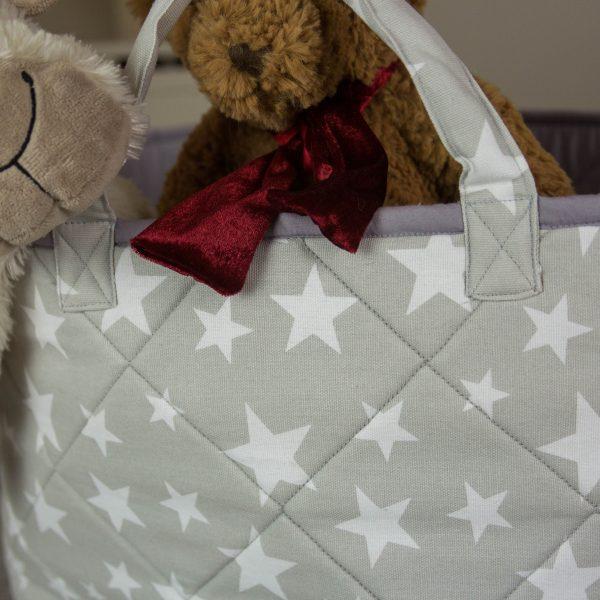 Kiddiewinkles Grey Star Large Children's Toy Storage Basket