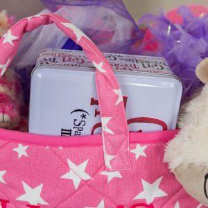 Kiddiewinkles Pink Star Large Children's Toy Storage Basket